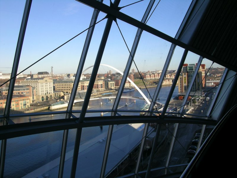 View of Gateshead Quayside from inside Sage